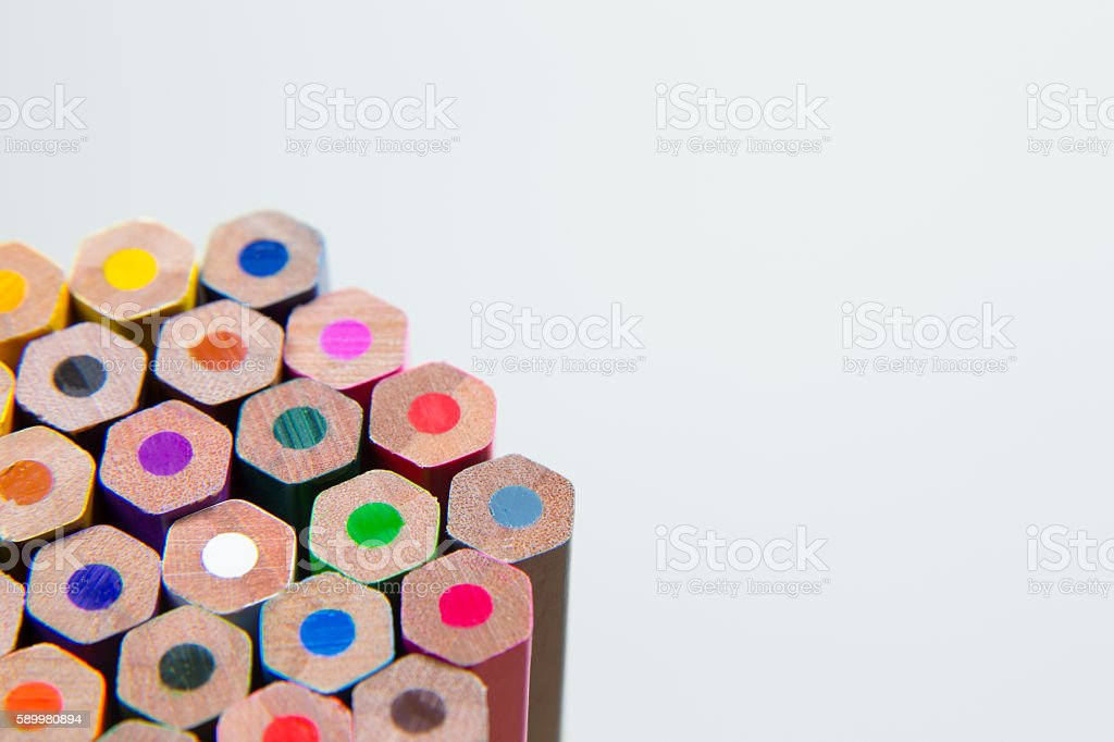 bottom end of coloring pencils stock photo