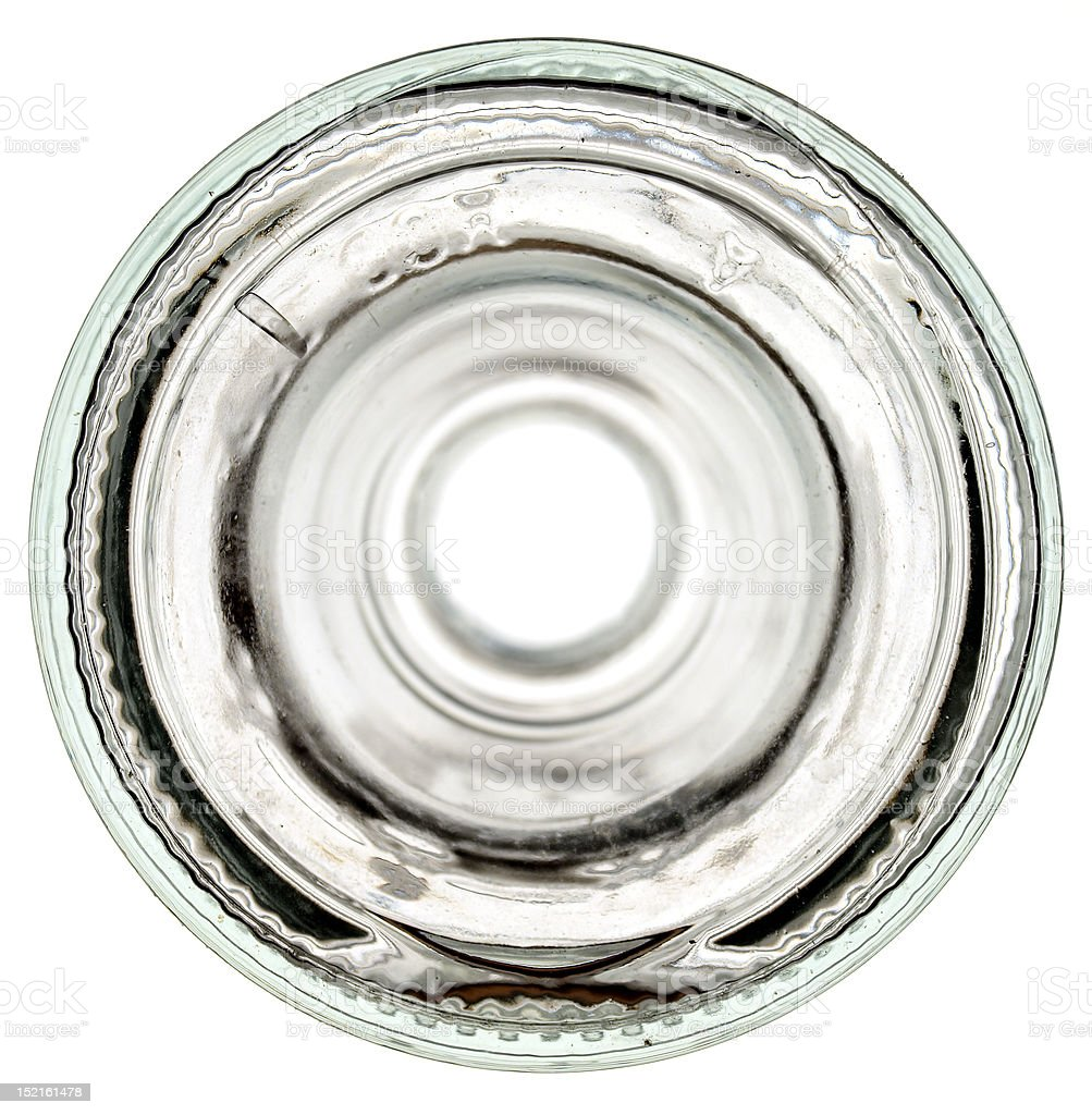 Bottom of a glass bottle stock photo