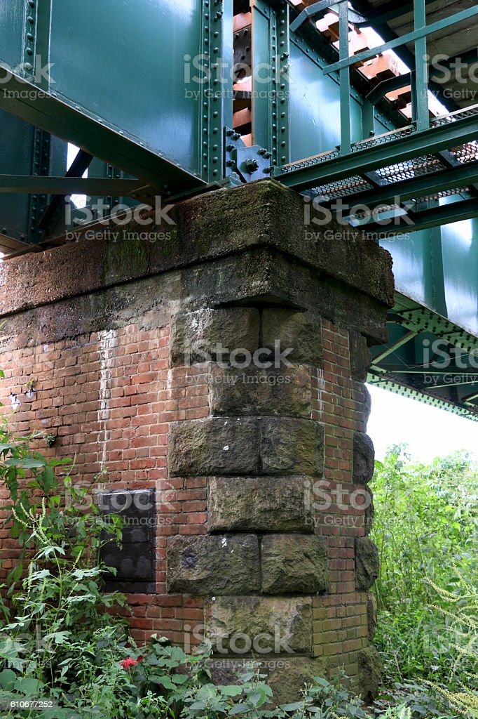 Bottom of a railroad line stock photo