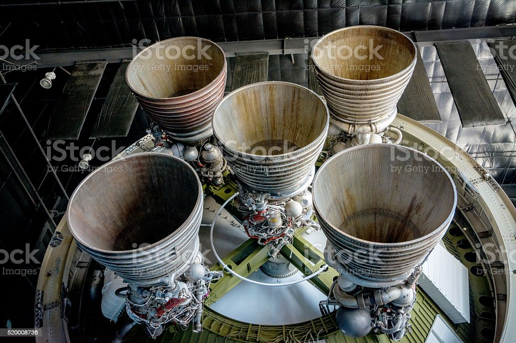 Bottom of a rocket shows its jets stock photo