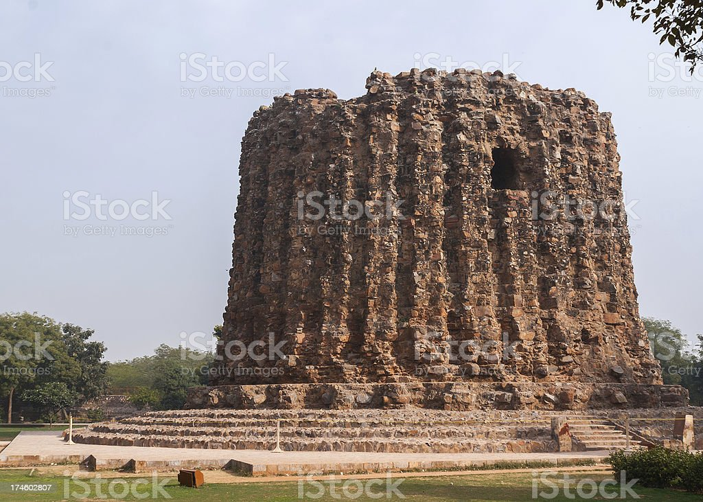 Bottom of never finished minaret at Qut'b Minar in Delhi. stock photo