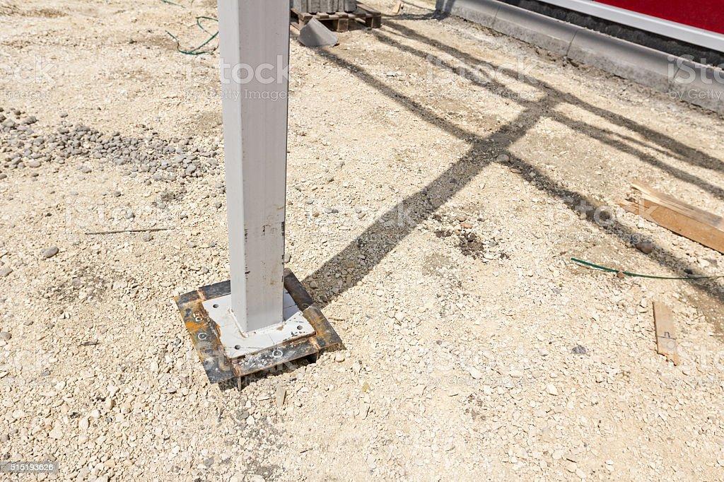 Bottom of the steel pillar. stock photo