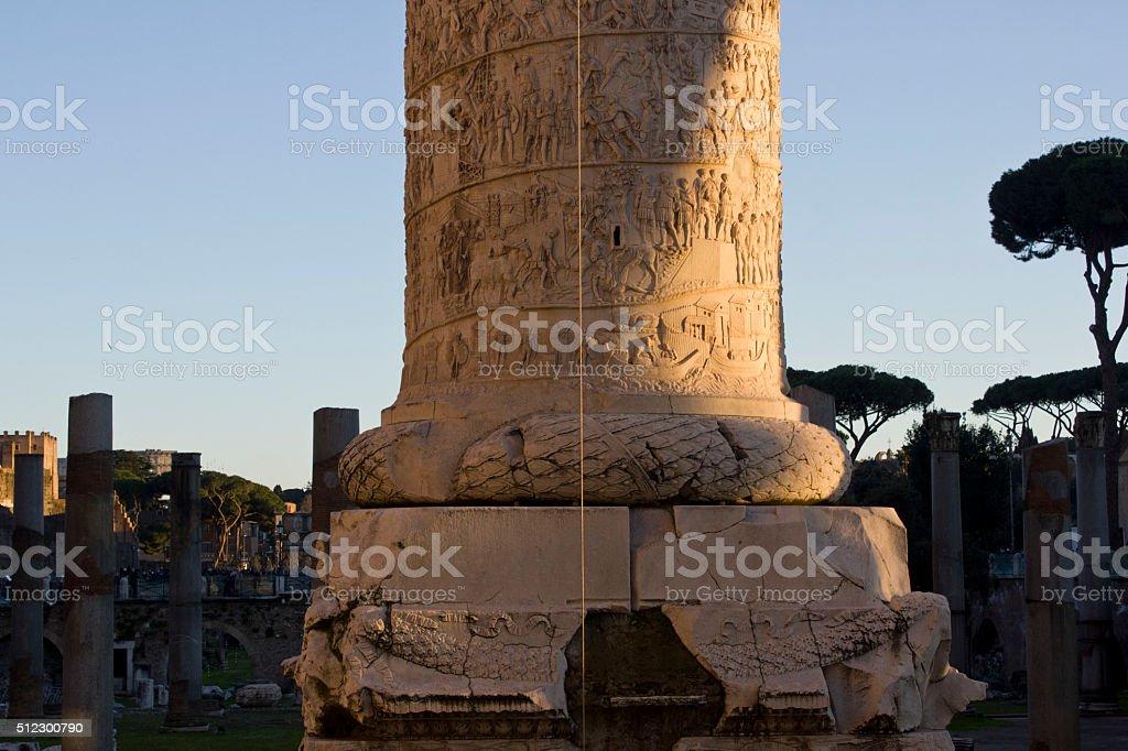 bottom of Trajan column in Rome stock photo