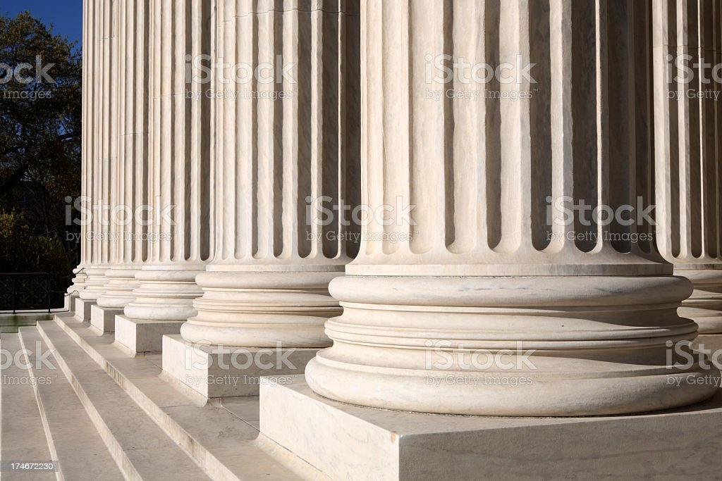 Bottom part of columns of the Supreme Court stock photo
