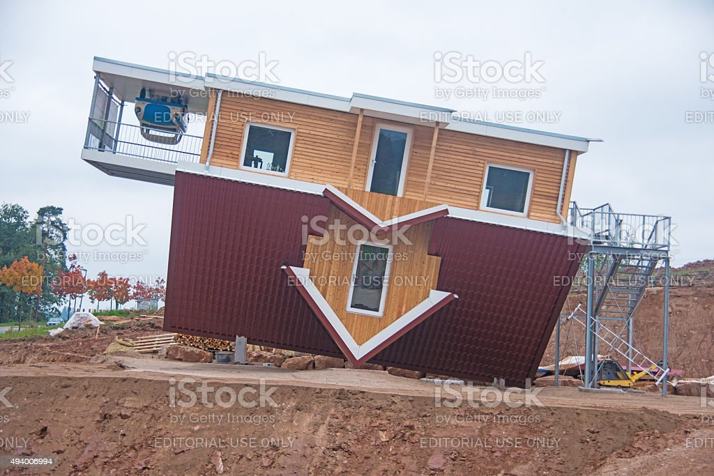 bottom up house on construction site stock photo