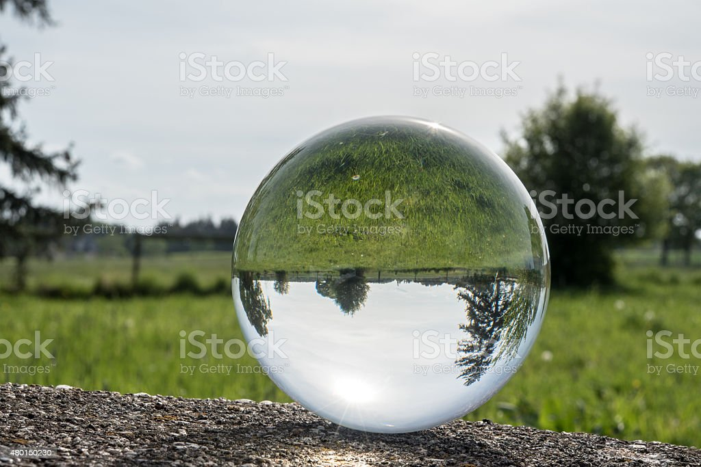 bottom up landscape in a big glass sphere stock photo