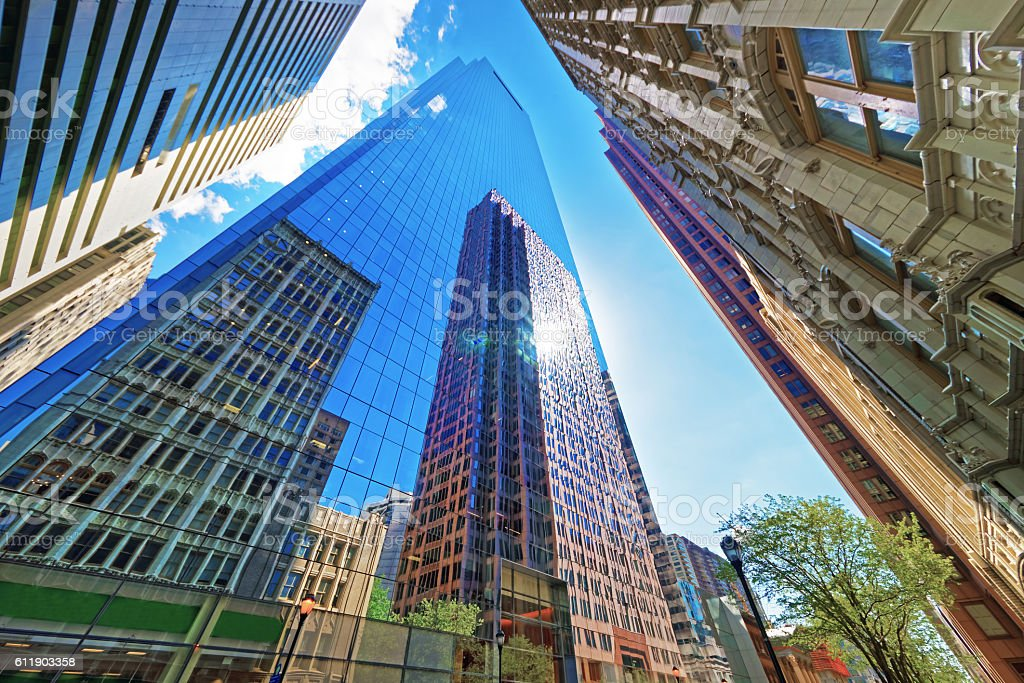 Bottom up view on skyscrapers reflected in glass in Philadelphia stock photo