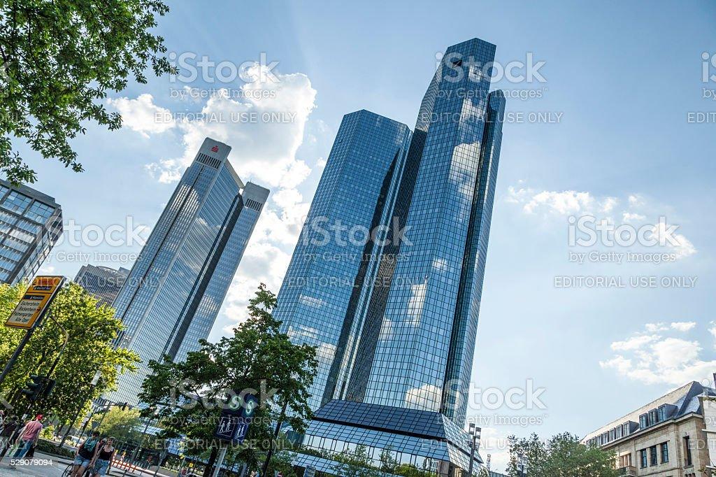 Bottom view of 155 meter high Deutsche Bank Twin Towers stock photo