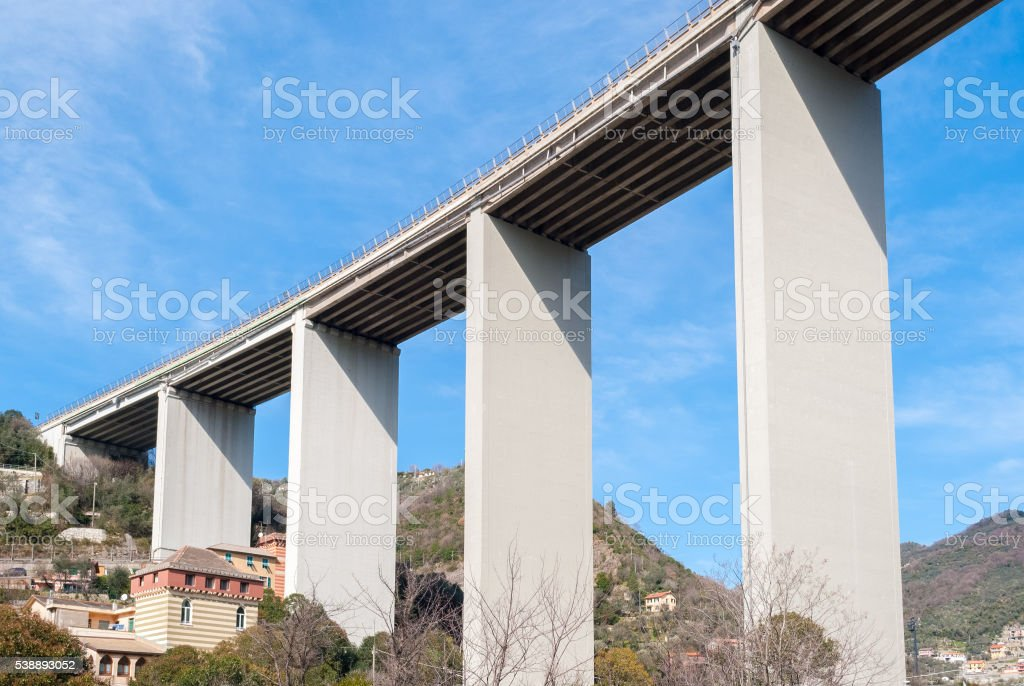 Bottom view of a viaduct in Italy stock photo
