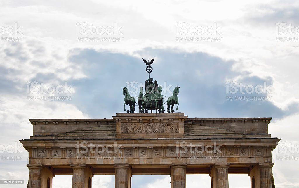 Bottom view of Branderburg gate stock photo