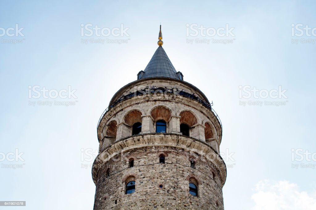 Bottom view of Galata tower in Beyoglu stock photo