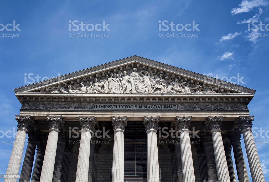 Bottom view of Madeleine with blue sky background stock photo