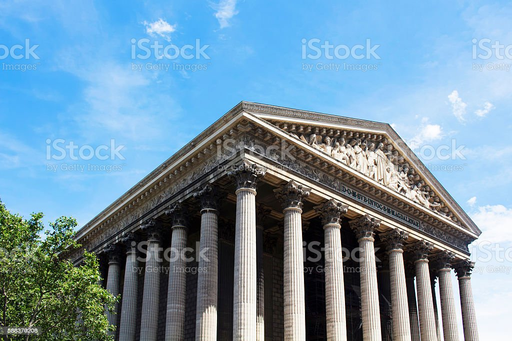 Bottom view of Magdalene church in Paris stock photo