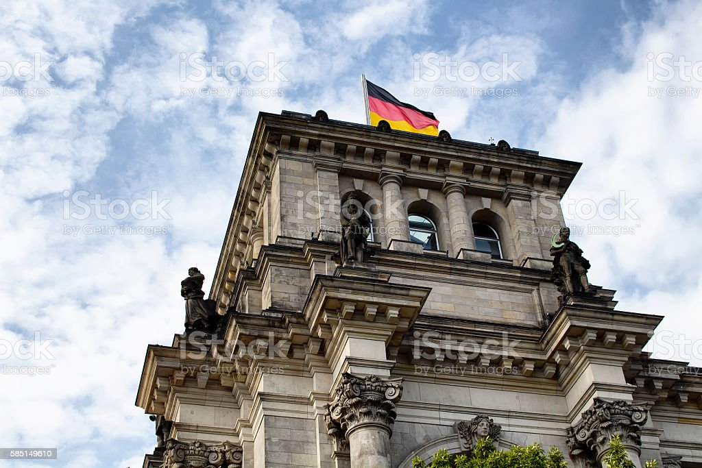Bottom view of Reichstag building in Berlin stock photo