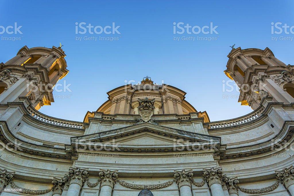 Bottom view of saint Agnese church stock photo