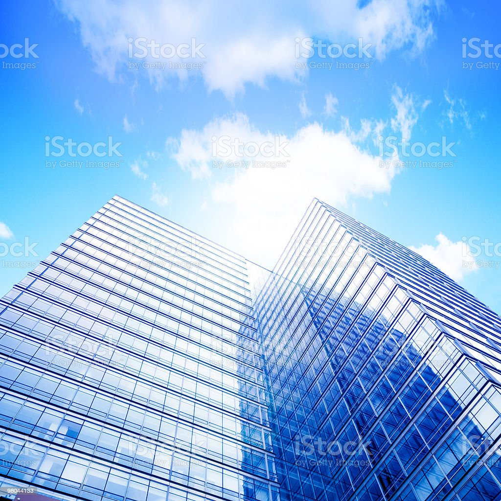 Bottom view of skyscrapers on a cloudy day royalty-free stock photo