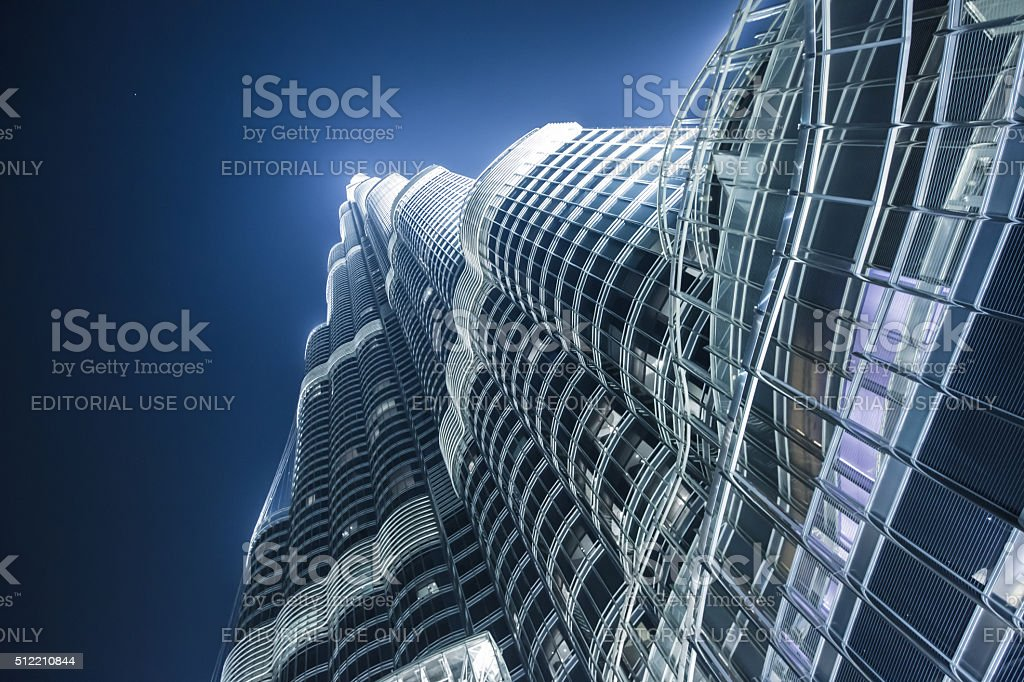 bottom view of the highest skyscraper Burj Khalifa stock photo