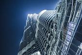 bottom view of the highest skyscraper Burj Khalifa