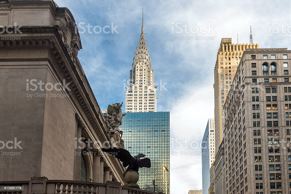 bottom view of the skyscrapers of New York, USA stock photo