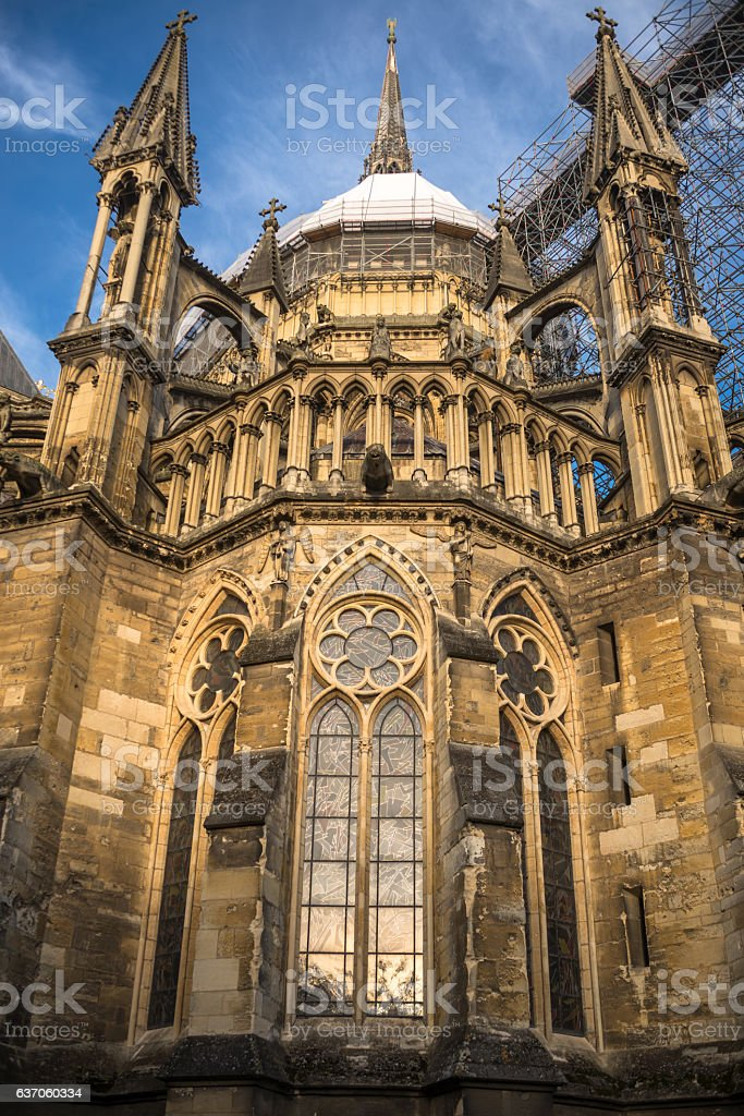 Bottom view on the back part of Reims cathedral under stock photo