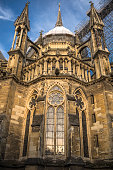 Bottom view on the back part of Reims cathedral under