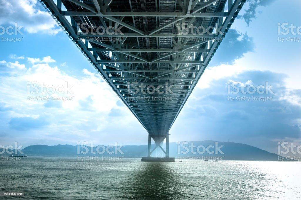 Bottom view structure under bridge of Akashi Kaikyo, suspension bridge, spanning the Seto Inland Sea from Awaji Island to Kobe, Japan stock photo