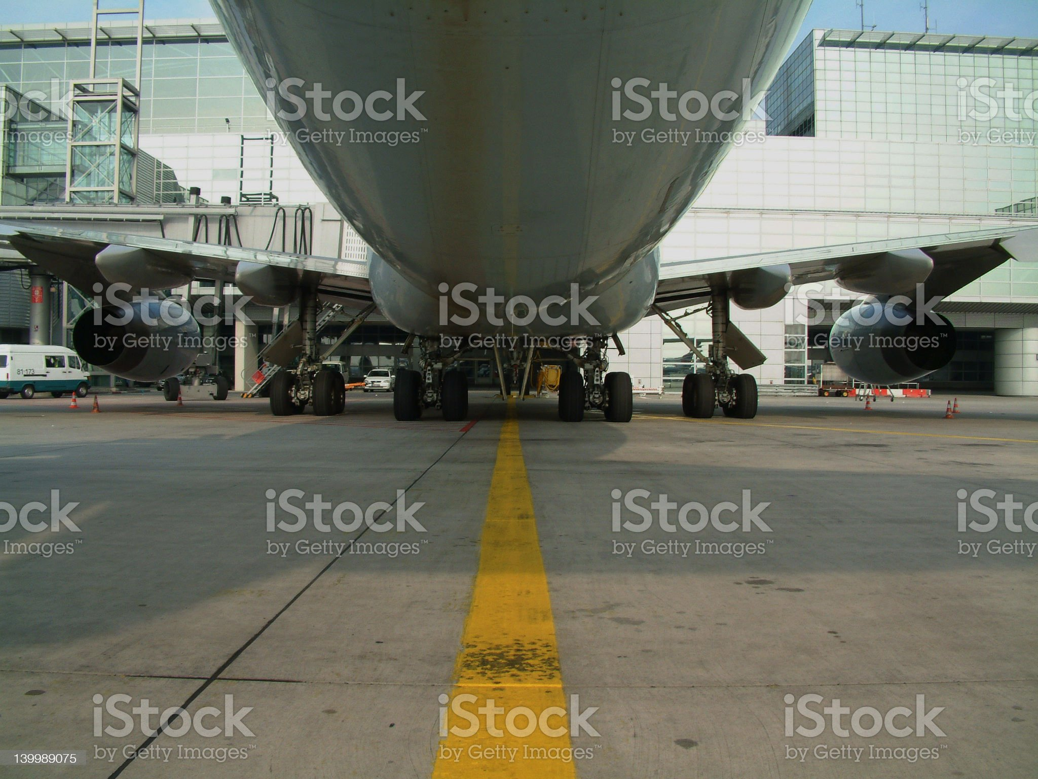 Bottom-View of a 747 royalty-free stock photo