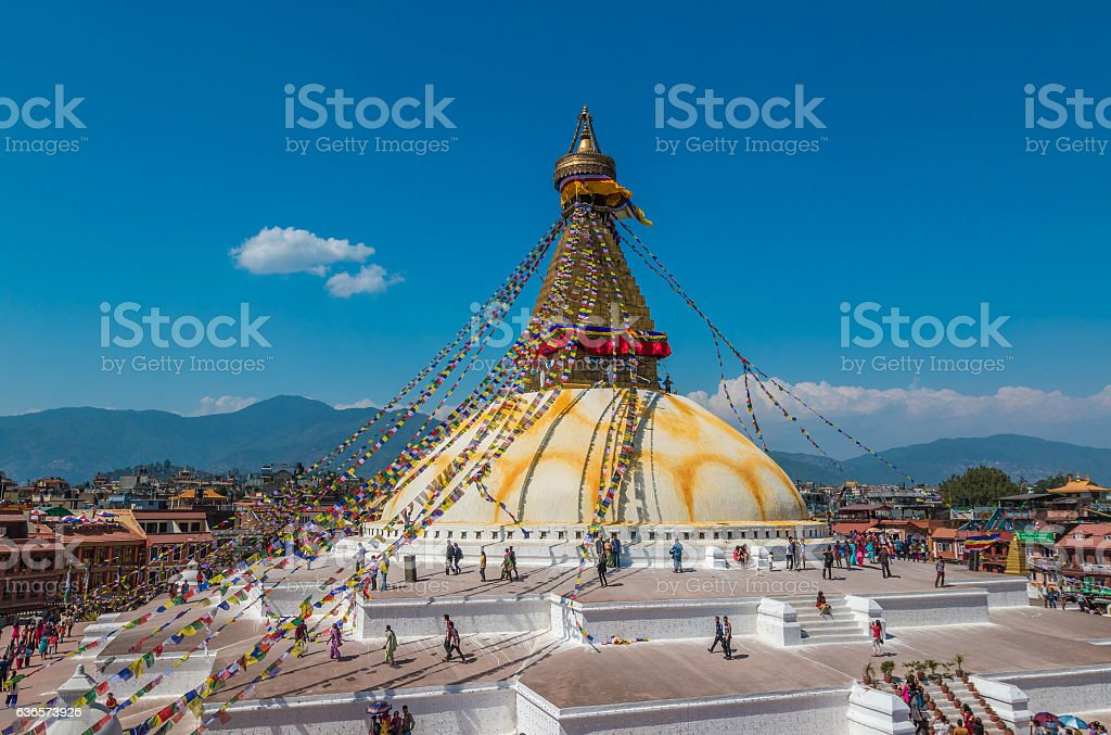 Boudanath stupa in Kathmandu Nepal stock photo