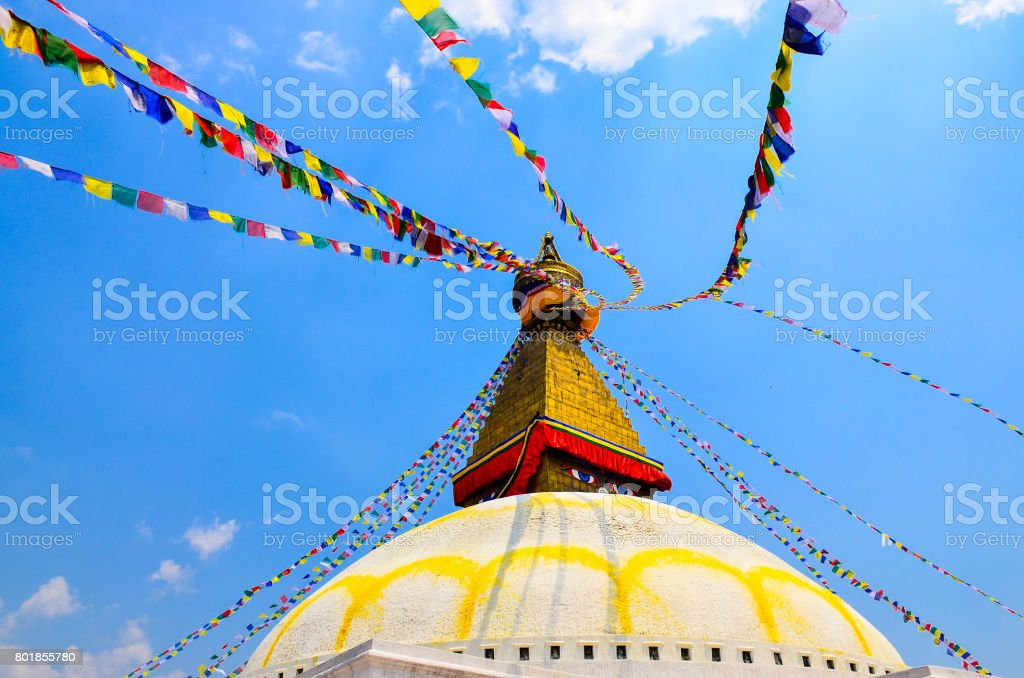 Bouddhanath stupa with colorful buddhist flags, Kathmandu, Nepal stock photo