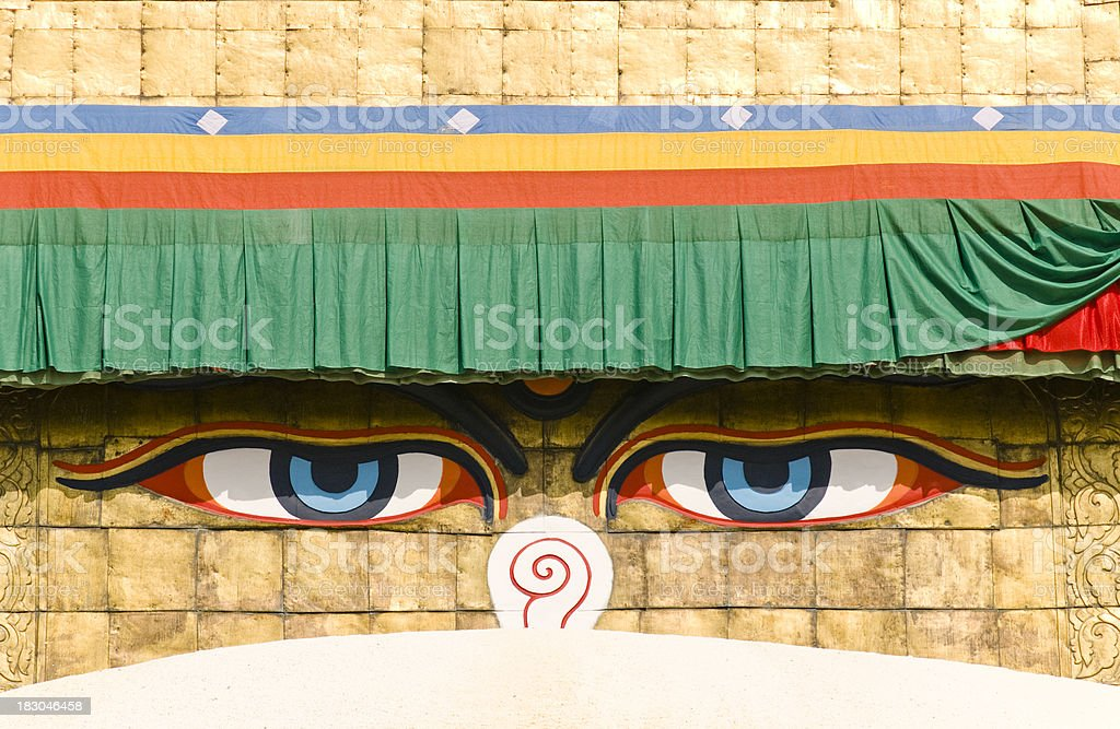 Boudhanath, Bodnath's third eye, Nepal royalty-free stock photo