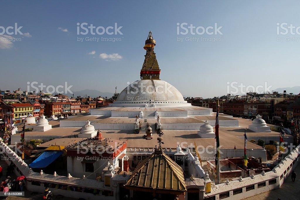Boudhanath stupa after the earthquake, Kathmandu stock photo