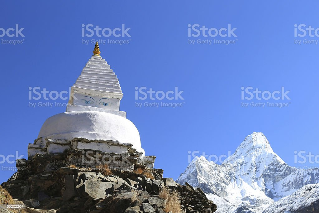 boudhanath stupa and ama dablam peak from nepal royalty-free stock photo