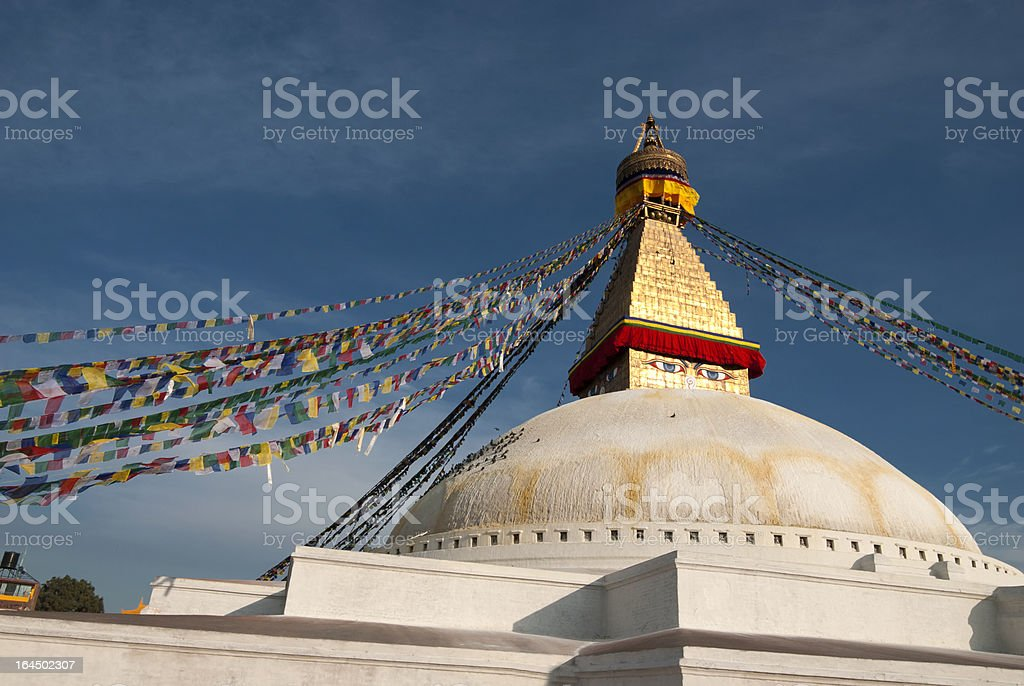 Boudhanath Stupa in partly cloudy day royalty-free stock photo