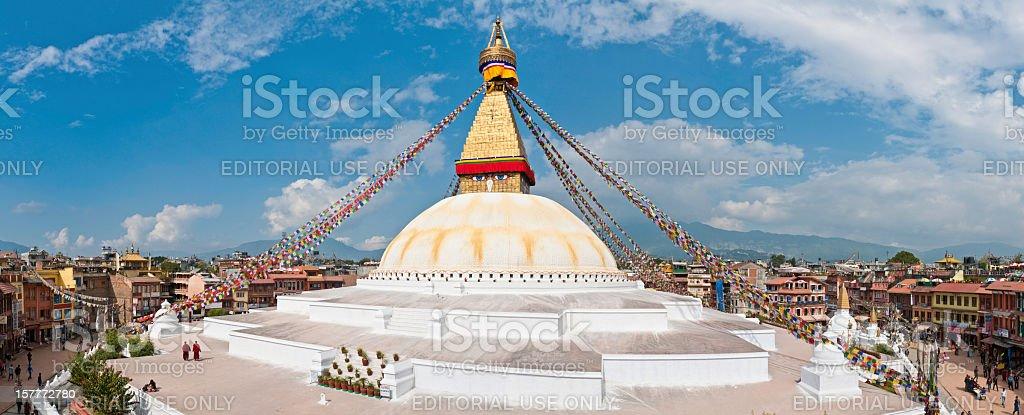 Boudhanath stupa mandala Buddhist prayer flags panorama Kathmandu Nepal stock photo