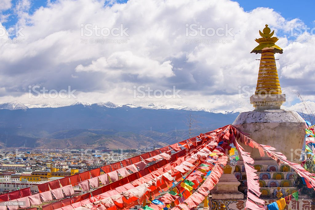 Boudhanath Stupa with hundreds of Pigeons and Prayer flags stock photo