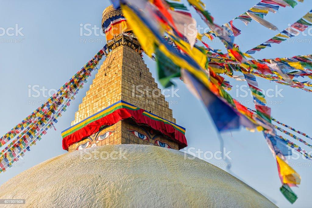 Boudhanath Stupa with prayer flags, Kathmandu, Nepal stock photo