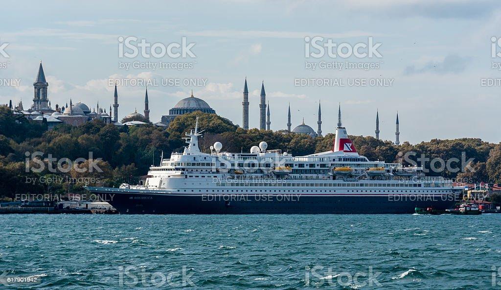MV Boudicca cruise ship docked near Hagia Sophia stock photo
