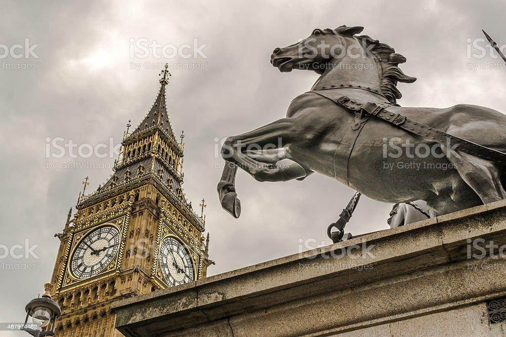 Boudicca Statue and Big Ben stock photo