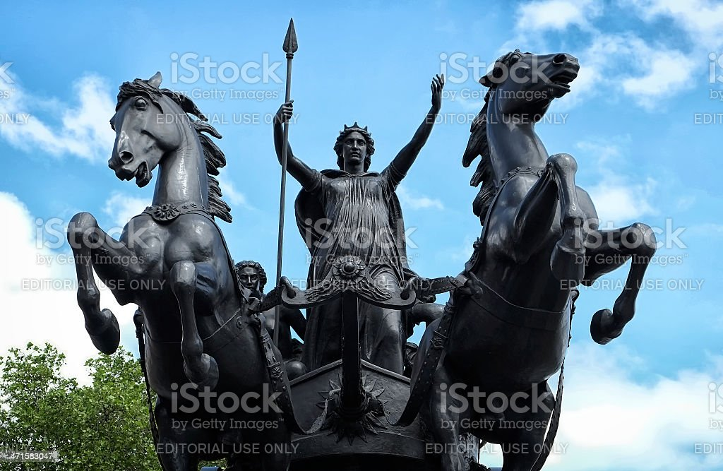 Boudicca statue, Queen of the Iceni tribe, riding a chariot stock photo