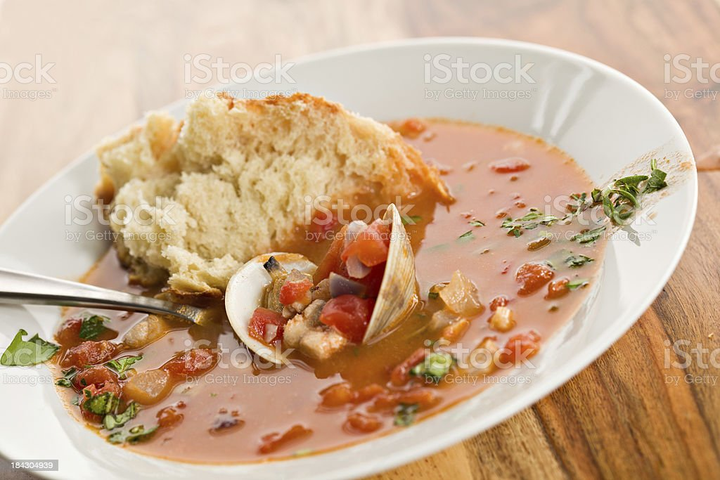 Bouillabaisse And Bread stock photo