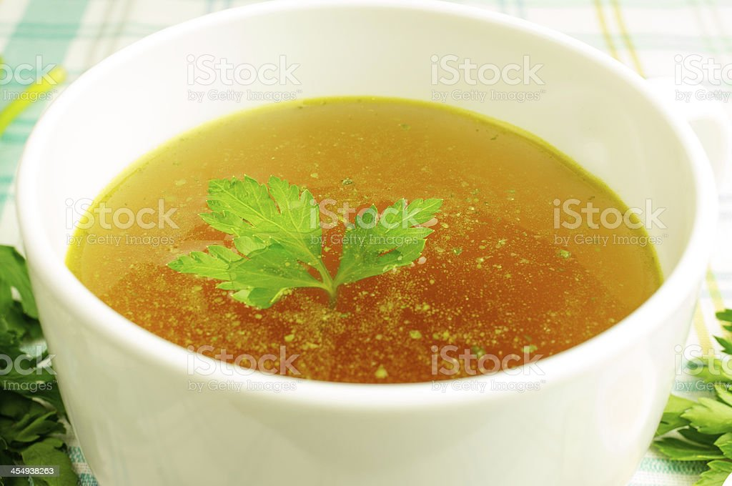 Bouillon, broth, clear soup stock photo