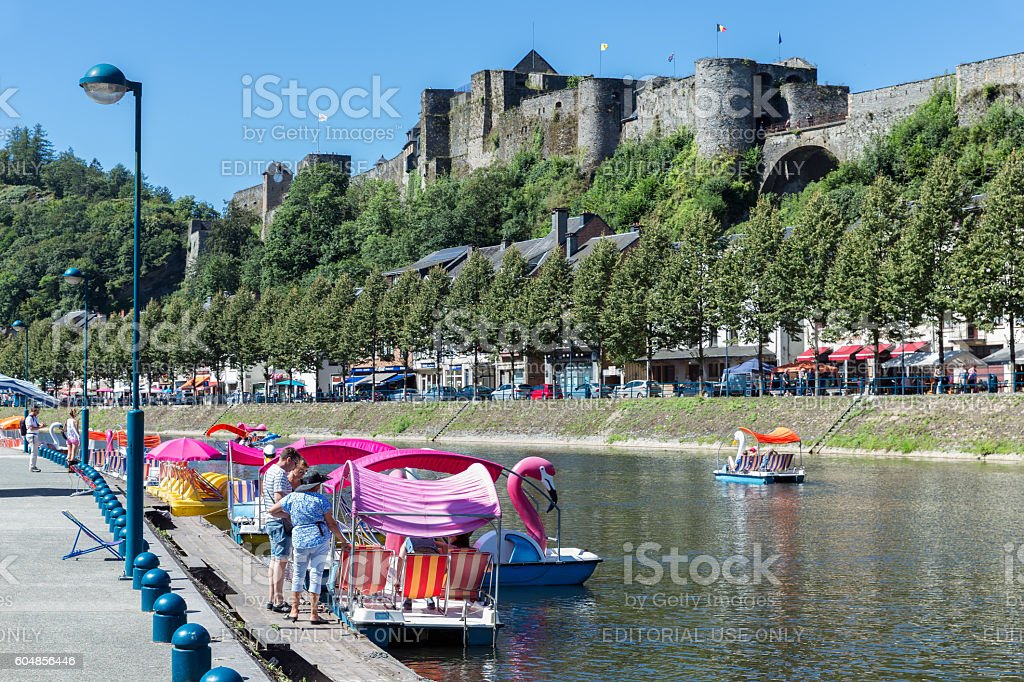 Bouillon with castle and river Semois with pedalos, Belgium stock photo