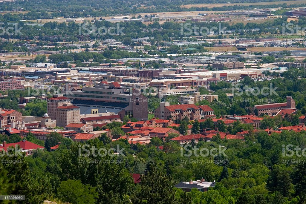 Boulder and the Universtiy of Colorado royalty-free stock photo