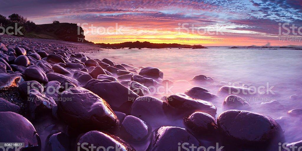 Boulder Beach Dawn Panorama stock photo