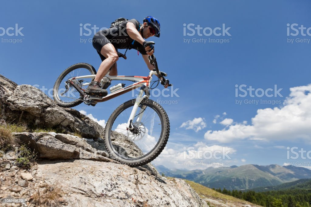 Boulder Biking in South Tyrol stock photo