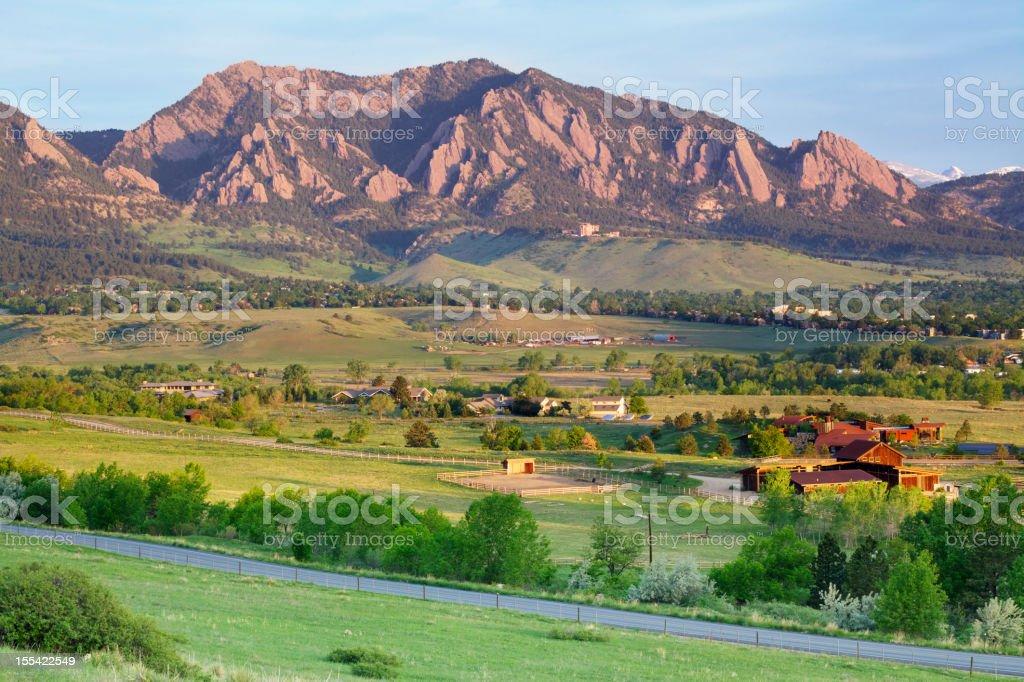 Boulder Colorado Flatirons and Ranchland royalty-free stock photo