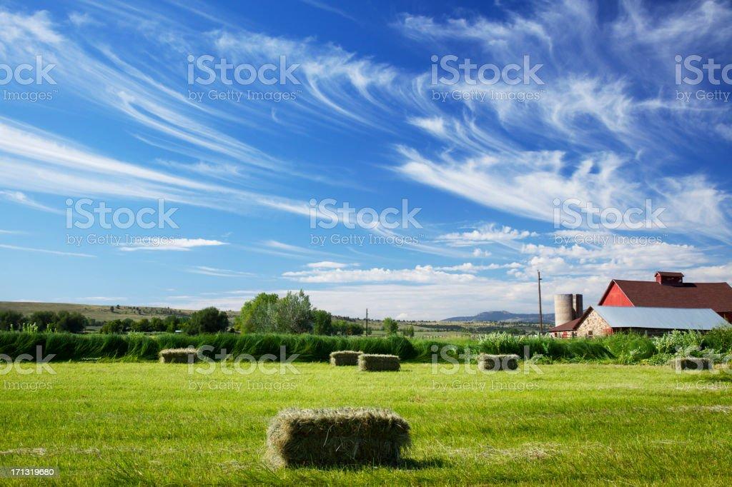 Boulder Colorado Red Barn and Cloudscape stock photo