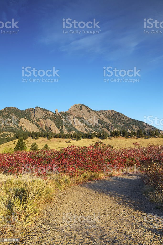 Boulder Colorado Trail to the Flatirons in Fall stock photo