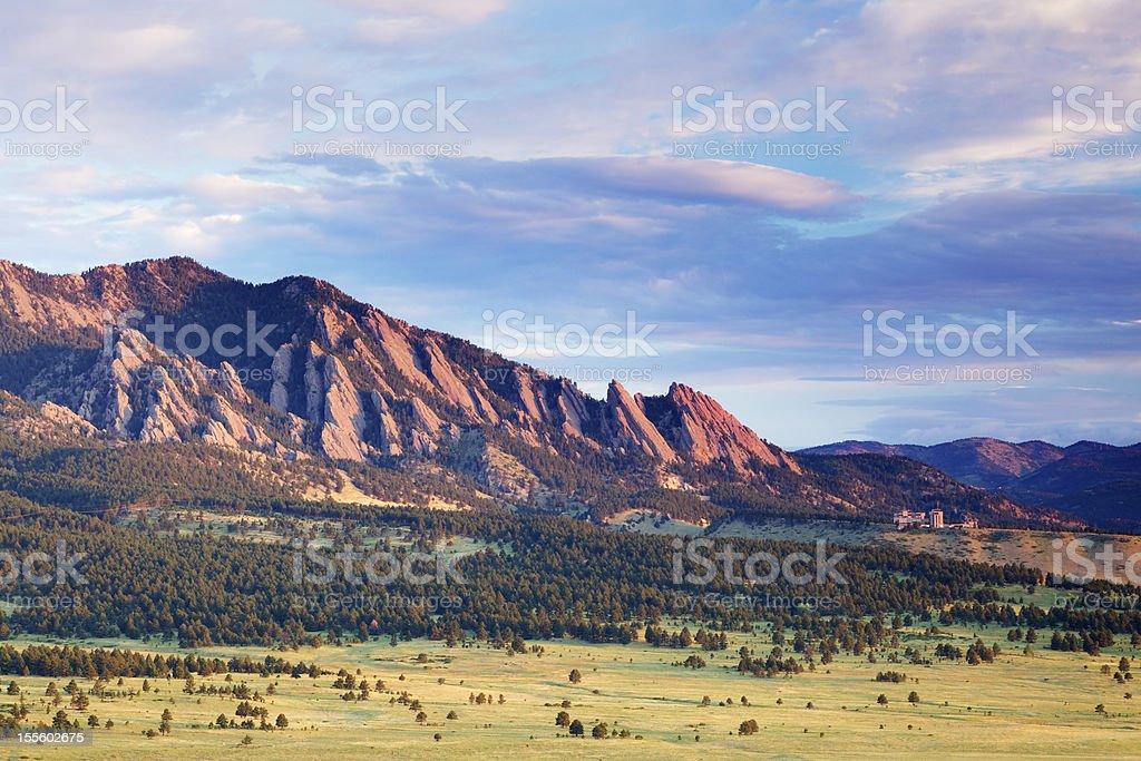 Boulder Flatirons at Sunrise stock photo
