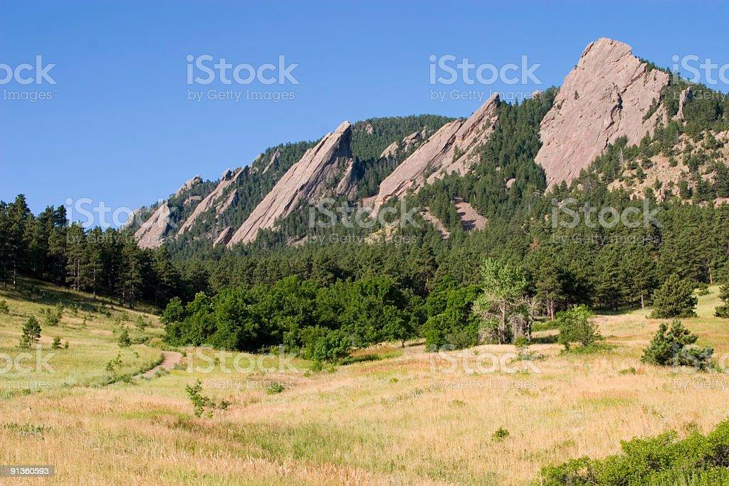 Boulder Flatirons Hiking Area in Chautauqua Park Colorado stock photo